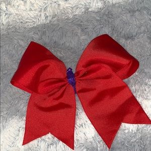 Red cheer bow with purple middle